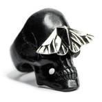 Black Skull & Moth Ring (Size: 6)