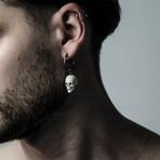 Skull Earring // White + Silver