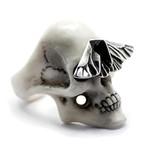 White Skull & Moth Ring (Size: 6)