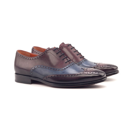 Full Brogue // Navy + Burgundy Burnished Painted Calf (Euro: 40)
