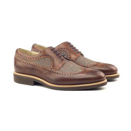 Longwing Blucher // Med Brown Painted Calf + Tweed Sartorial (Euro: 40)