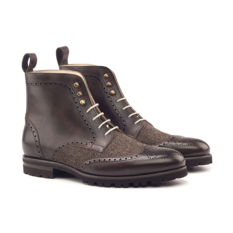 Military Boot // Dark Brown Painted Calf + Herringbone (Euro: 40)