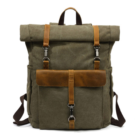 Triple Buckle Backpack // Army Green