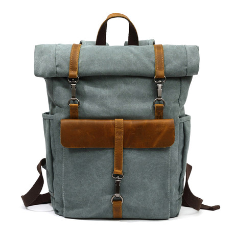 Triple Buckle Backpack // Green