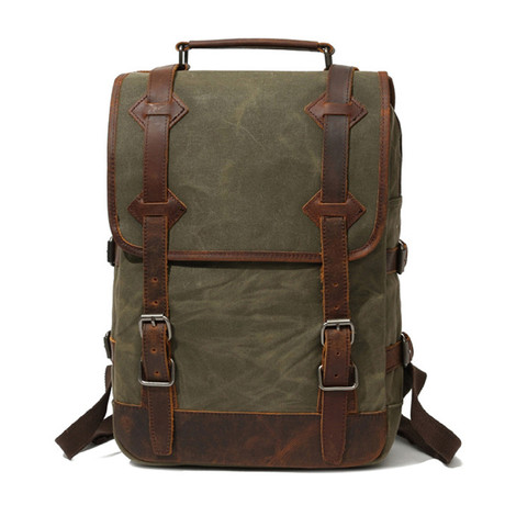 Backpack With Double Large Buckle // Army Green