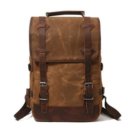 Backpack With Double Large Buckle // Khaki