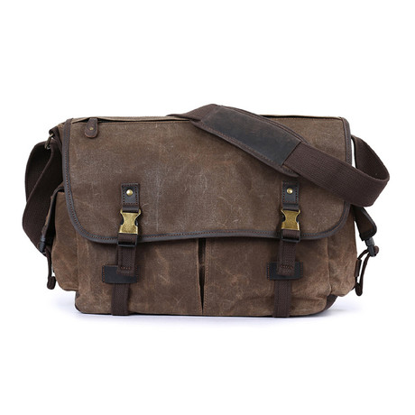 Double Buckle Messenger Bag // Cof