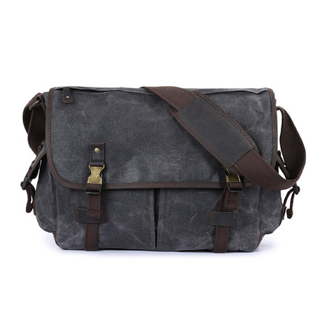 Double Buckle Messenger Bag // Dark Gray