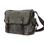 Double Buckle Messenger Bag // Green