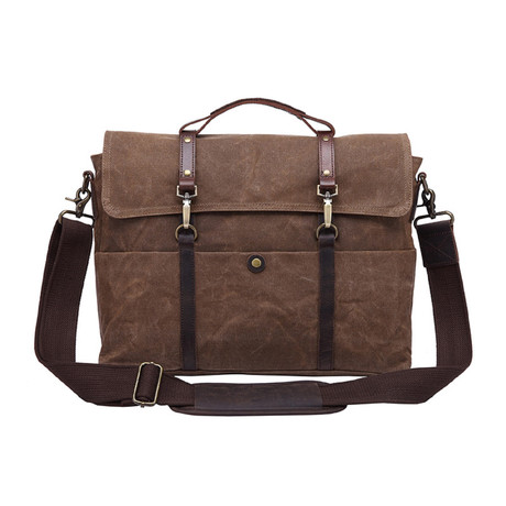 Double Thin Buckle Messenger Bag // Cof