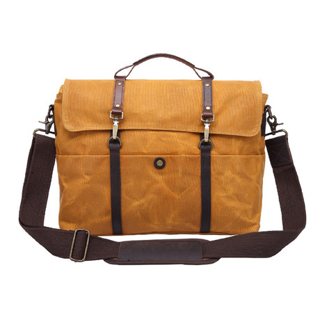 Double Thin Buckle Messenger Bag // Yellow