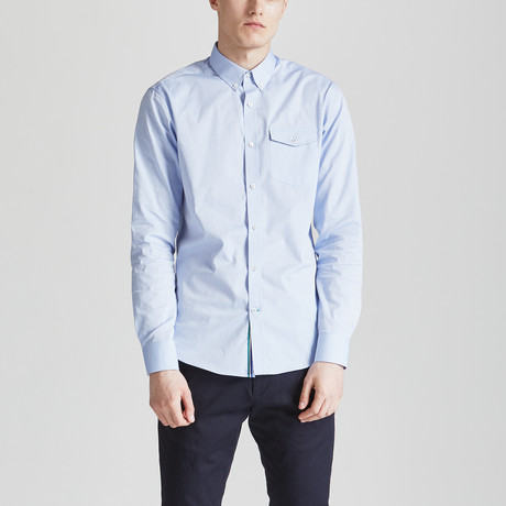 Chambray Slim Fit Contrast Placket Shirt // Sky Blue (S)