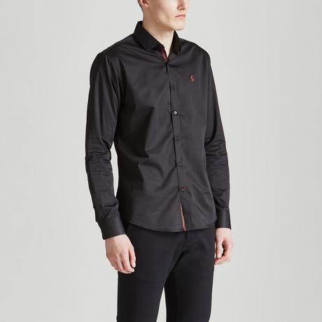 Satin Finish Slim Fit Contrast Placket Shirt // Black (S)