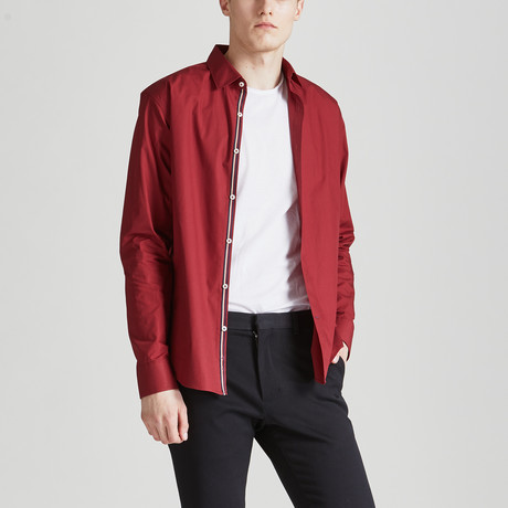 Slim Fit Contrast Placket Shirt // Red (S)