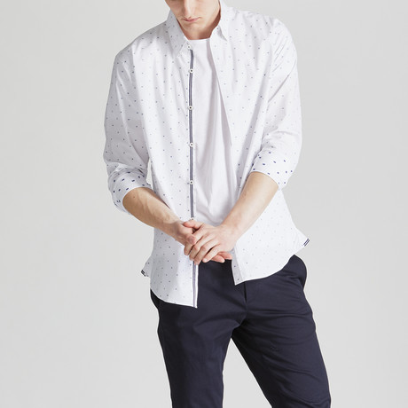 Printed Slim Fit Contrast Placket Shirt // White (S)