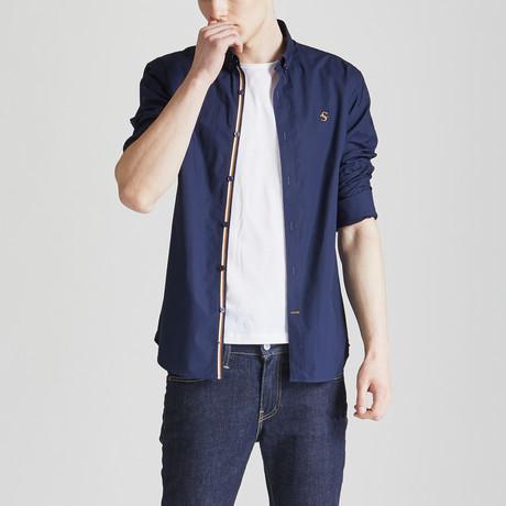 Slim Fit Contrast Placket Shirt // Navy (S)