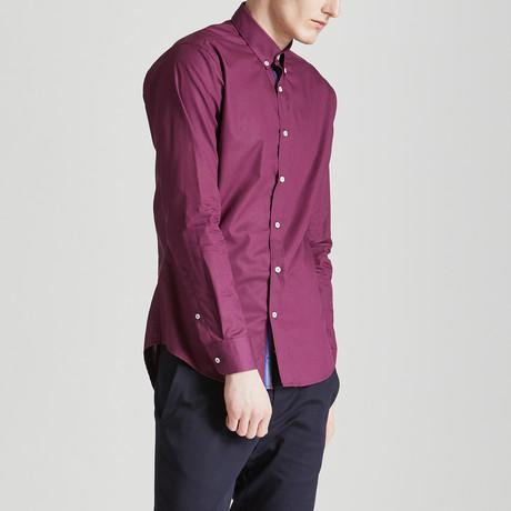 Slim Fit Contrast Placket Shirt // Maroon (S)