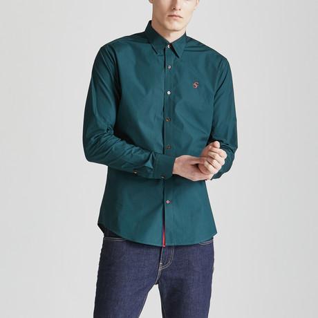 Slim Fit Contrast Placket Shirt // Emerald Green (S)
