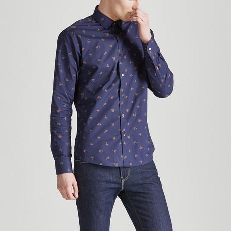 Slim Fit Print Shirt // Navy + Gold (S)