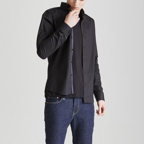 Slim Fit Contrast Placket Shirt // Black (S)