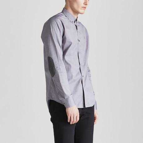Slim Fit Contrast Placket Shirt // Gray (S)