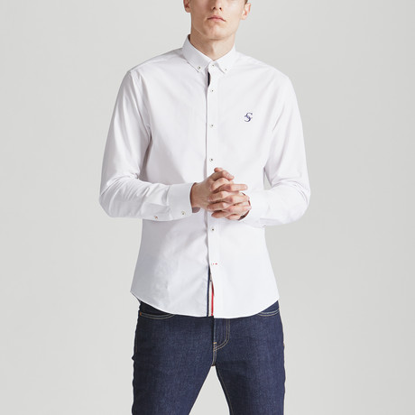 Slim Fit Contrast Placket Shirt // White (S)