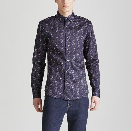 Slim Fit Floral Print Shirt // Navy (S)
