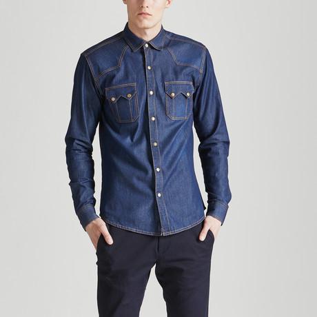 Slim Fit Gold Detailing Shirt // Denim (S)