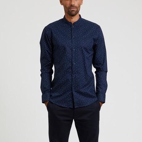 Grandad Collar + Polka Dot Print Shirt // Navy + Dark Blue (S)