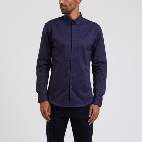 Colored Print Shirt // Navy (S)