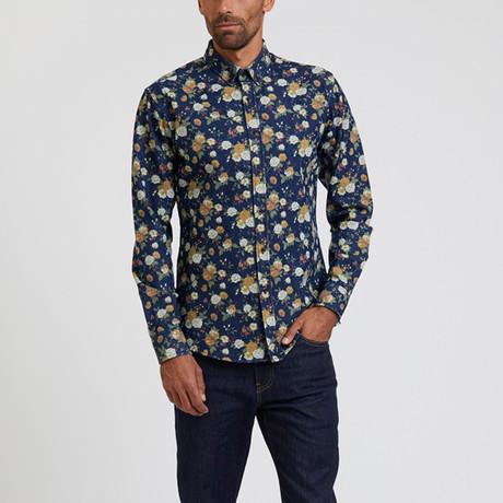 Floral Printed Denim Shirt // Multi (S)