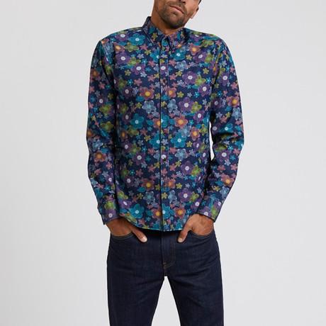 Colorful Floral Printed Denim Shirt // Multicolor (L)