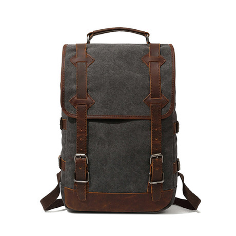 Backpack With Double Large Buckle // Gray