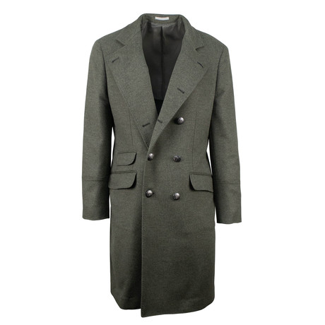Brunello Cucinelli // Cashmere Wool DB Overcoat // Green + Silver Button (Euro: 48)