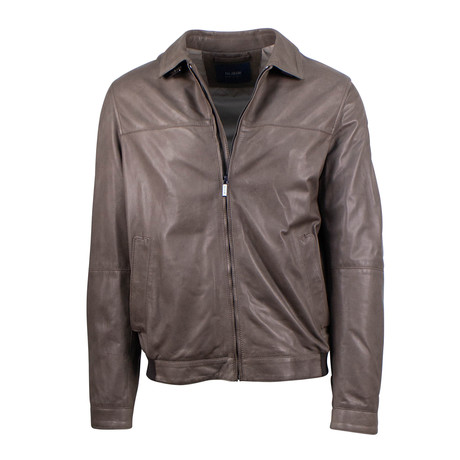 Pal Zileri // Leather Bomber Jacket // Brown (Euro: 54)