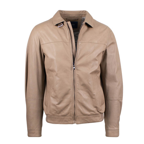 Pal Zileri // Leather Bomber Jacket // Light Brown (Euro: 48)