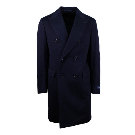 Pal Zileri // Wool Double Breasted Wool Coat // Blue (Euro: 54)
