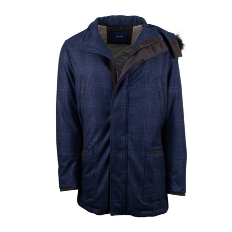 Pal Zileri // Plaid Wool Parka Coat Jacket // Blue (Euro: 48)