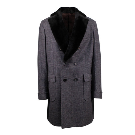 Pal Zileri Concept // Plaid Double Breasted Coat // Brown (Euro: 48)