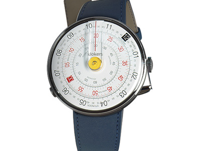Photo of Klokers Rotating Swiss Watches Klokers Quartz // KLOK-01-D1 Yellow // Indigo Blue Simple Strap by Touch Of Modern