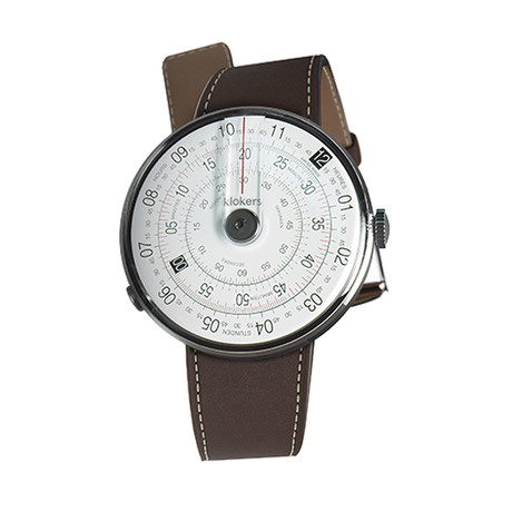 Klokers Quartz // KLOK-01-D2 Gray // Chocolate Brown Simple Strap