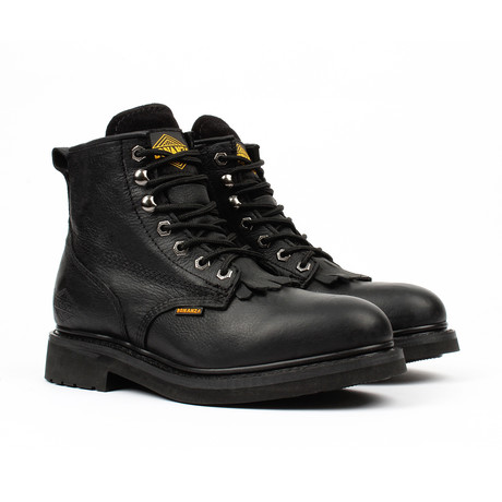 Plain-Toe Work Boots + Removable Kiltie // Black (US: 5)
