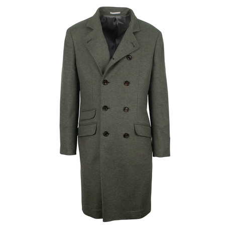 Brunello Cucinelli // Cashmere Wool DB Overcoat // Green + Brown Button (Euro: 48)