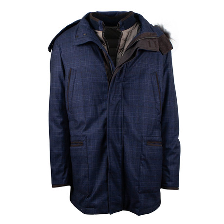 Pal Zileri // Plaid Wool Parka Coat Jacket + Vest // Blue (Euro: 48)