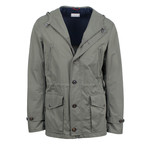 Brunello Cucinelli // Men's Hooded Microfiber Jacket // Olive Green (M)