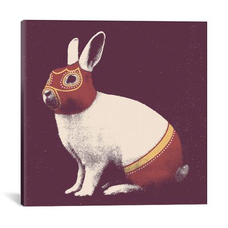 "Rabbit Wrestler Square // Florent Bodart (18""W x 18""H x 0.75""D)"