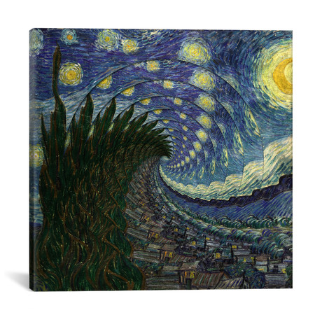 "Swirl Night // Unknown Artist (18""W x 18""H x 0.75""D)"