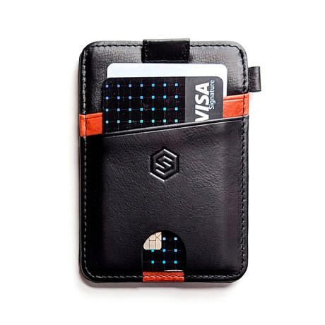 Minimalist Wallet // Black + Brown Stripe