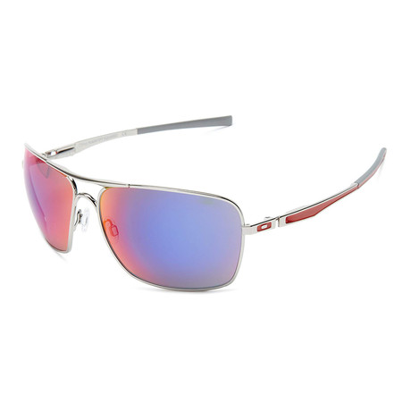 Oakley // Men's Plaintiff Squared Sunglasses // Polished Chrome + Red Iridium