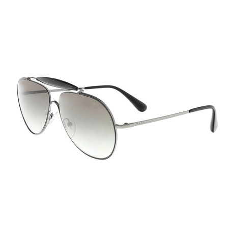 Prada // Metal Men's Aviator Sunglasses // Black + Gray Gradient